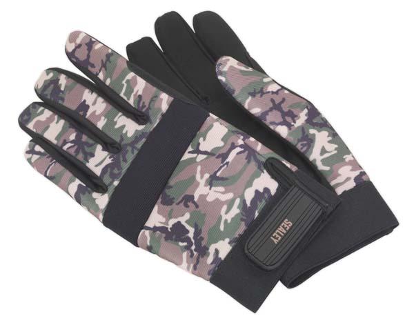 Sealey - MG795L  Mechanic's Gloves Padded Palm Camo - Large