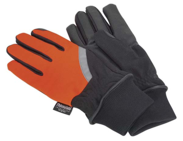 Sealey - MG797L  Mechanic's Gloves High Visibility PU Touch Thinsulate
