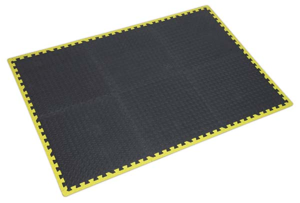 Sealey - MIC1218Y3  Interlocking EVA Foam Workshop Mat Set 1240 x 1825mm with Hi-Vis Edges