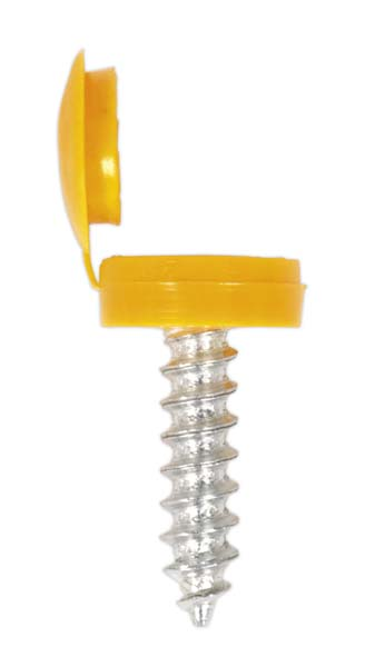 Sealey - NPY50  Number Plate Screw & Flip Cap 4.2 x 19mm Yellow Pack of 50