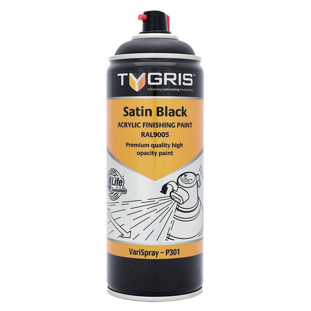 TYGRIS Satin Black Paint (RAL9005) - 400 ml P301