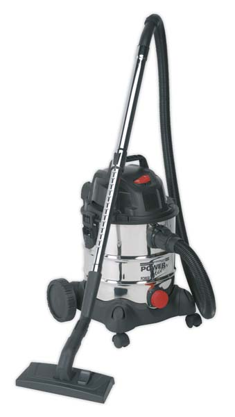 Sealey - PC200SD  Vacuum Cleaner Industrial Wet & Dry 20ltr 1250W/230V Stainless Drum
