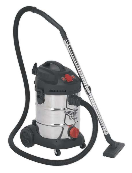 Sealey - PC300SDAUTO  Vacuum Cleaner Industrial 30ltr 1400W/230V Stainless Drum Auto Start