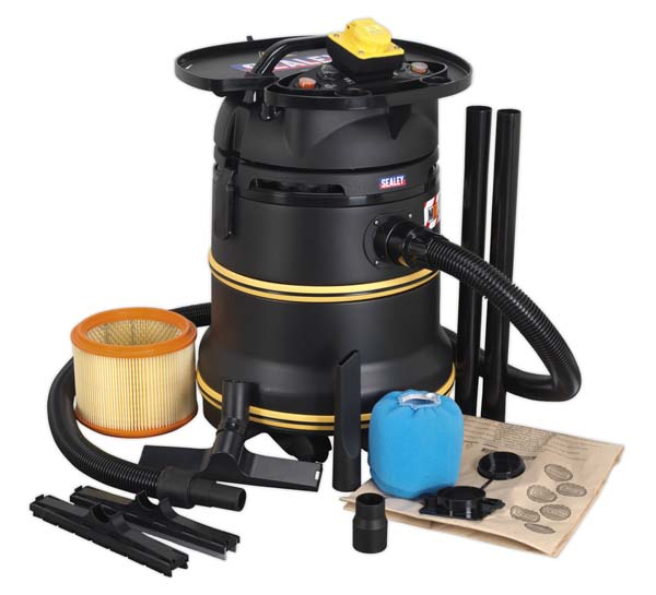 Sealey - PC35110V  Vacuum Cleaner Industrial Wet & Dry 35ltr 1200W/110V Plastic Drum Class M Filtration Self-Clean Filter & Auto Start