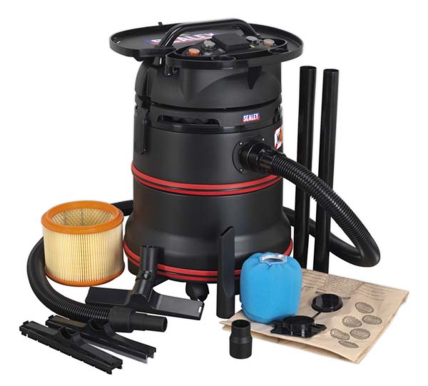 Sealey - PC35230V  Vacuum Cleaner Industrial Wet & Dry 35ltr 1200W/230V Plastic Drum Class M Filtration Self-Clean Filter & Auto Start