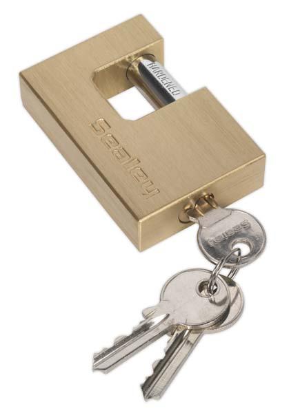 Sealey - PL109  Brass Body Shutter Padlock 75mm