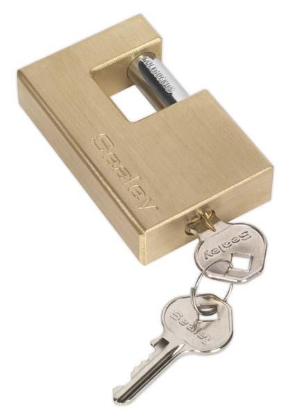 Sealey - PL209  Brass Shutter Padlock 76mm