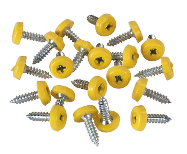 Sealey - PTNP2  Number Plate Screw Plastic Enclosed Head 4.8 x 18mm Yellow Pack of 50