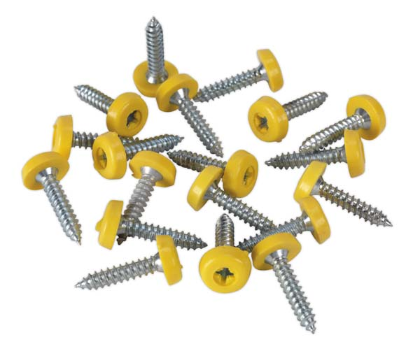 Sealey - PTNP6  Number Plate Screw Plastic Enclosed Head 4.8 x 24mm Yellow Pack of 50