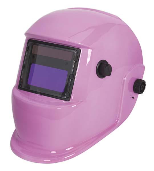 Sealey Welding Helmet Auto Darkening Shade 9-13 - Pink