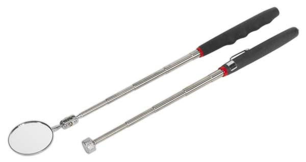 Sealey - S0940  Telescopic Magnetic Pick-Up Tool & Inspection Mirror Set 2pc