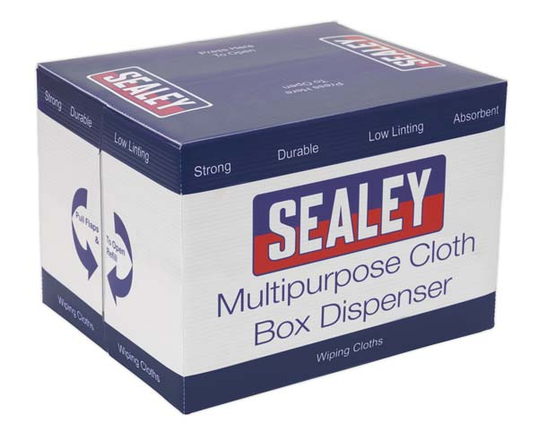 Sealey - SCP150  Multipurpose Paper Wipe in Polyflute Dispenser Box - Smooth White 75gsm 150 Sheets