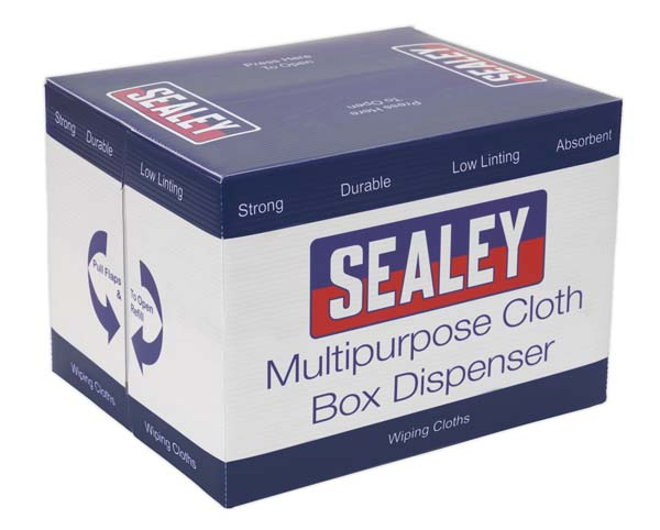 Sealey - SCP160  Multipurpose Paper Wipe in Polyflute Dispenser Box - Creped Turquoise 69gsm 160 Sheets
