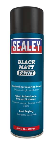 Sealey - SCS026  Black Matt Paint 500ml Pack of 6