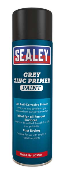 Sealey - SCS034  Grey Zinc Primer Paint 500ml Pack of 6