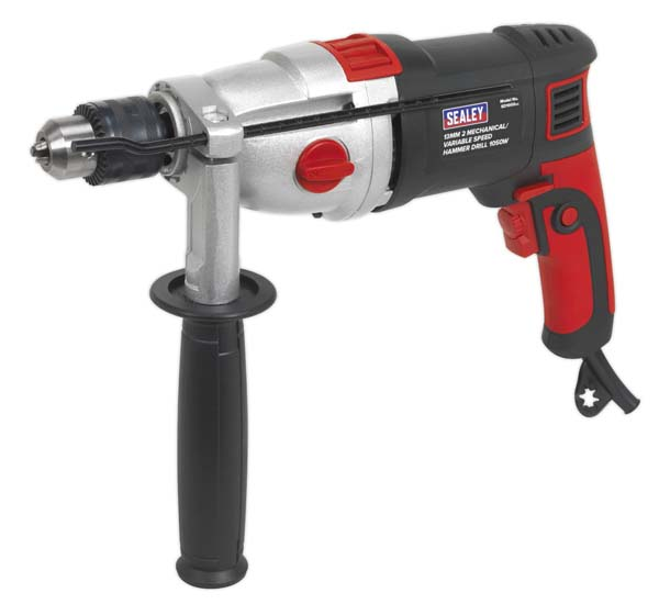 Sealey - SD1000  Hammer Drill 13mm 2 Mechanical/Variable Speed 1050W/230V