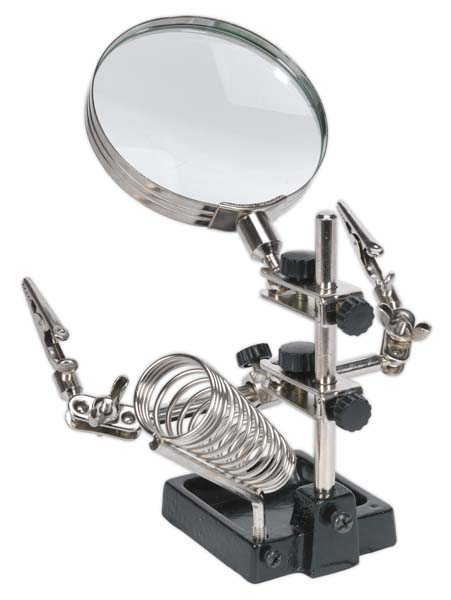 Sealey - SD150H  Mini Robot Soldering Stand with Magnifier & Iron Holder