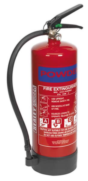 Sealey - SDPE06  Fire Extinguisher 6kg Dry Powder