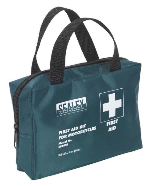 Sealey - SFA02S  First Aid Kit Small for Mopeds & Motorcycles - BS 8599-2 Compliant