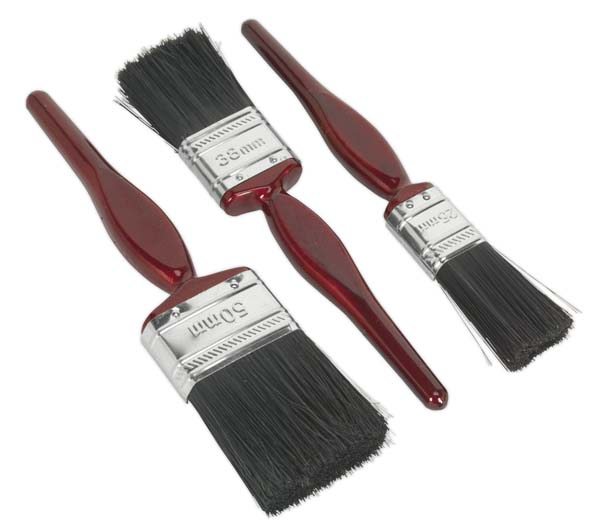 Sealey - SPBS3  Pure Bristle Paint Brush Set 3pc