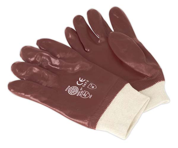 Sealey - SSP31  General Purpose PVC Gloves Knitted Wrist Pair