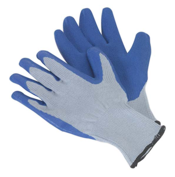 Sealey - SSP48D  Latex Knitted Wrist Gloves - Large Pack of 12 Pairs