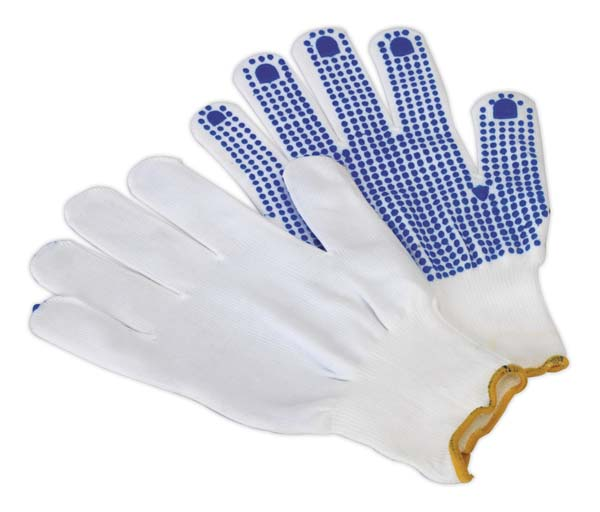 Sealey - SSP51  PVC Anti-Slip Nylon Knitted Gloves - Pair