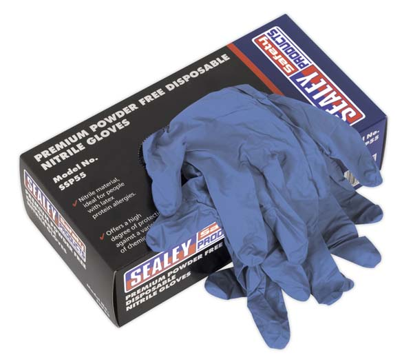 Sealey - SSP55L  Premium Powder Free Disposable Nitrile Gloves Large Pack of 100