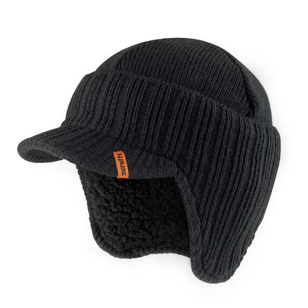 Scruffs Peaked Knitted Hat Black