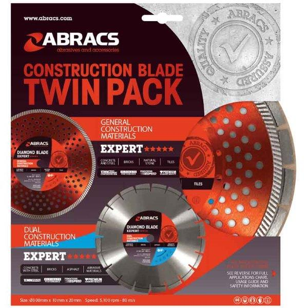 Abracs  300mm Construction Diamond Blade Twin Pack