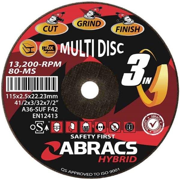 "Abracs   Hybrid ""3in1"" 115 x 2.5 x 22mm DPC Metal"
