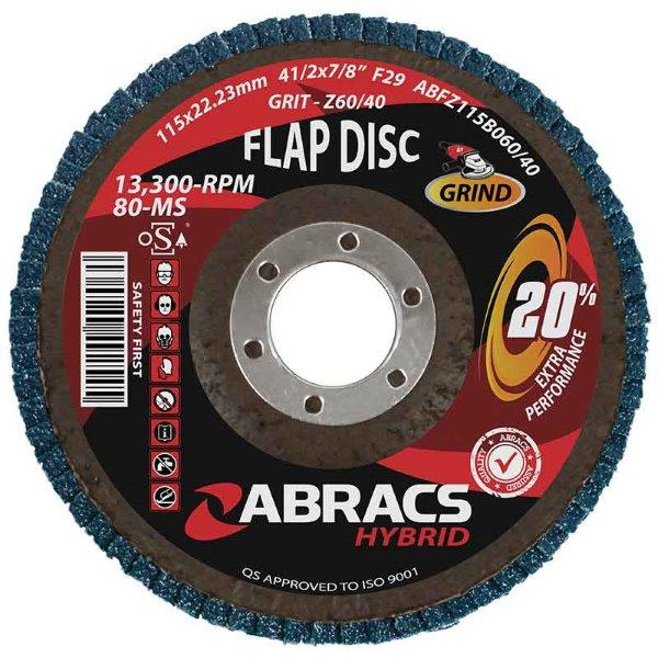 Abracs Hybrid Flap Disc 115mm x 22mm x 60/40g