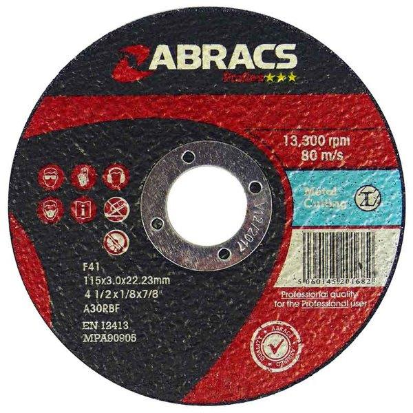 Abracs  PROFLEX 100mm x 3mm x 16mm FLAT  METAL CUTTING DISCS