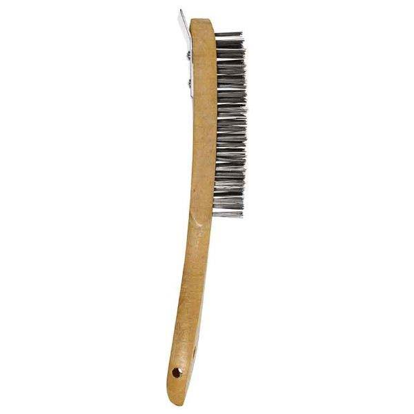 Abracs  4 ROW WOODEN HANDLED BRUSH WITH SCRAPER
